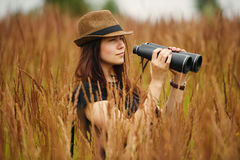 Beautiful girl in high grass portrait Stock Image