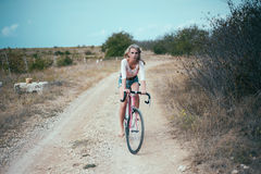 Beautiful girl hipster bike Stock Image