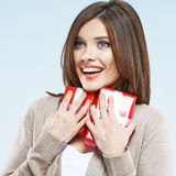 Beautiful girl hold gift. Stock Photo