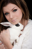 Beautiful Girl Hold Rabbit Stock Images