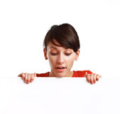 Beautiful Girl Holding An Empty White Board Stock Photos