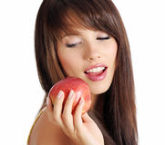 Beautiful girl holding apple Royalty Free Stock Image