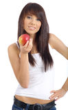 Beautiful girl holding apple Royalty Free Stock Photos