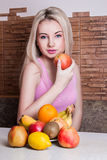 Beautiful girl holding Apple. Health, sport, summer Royalty Free Stock Image