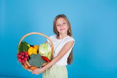 Beautiful girl holding a basket of ripe vegetables healthy food royalty free stock image