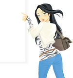 Beautiful girl holding blank banner Royalty Free Stock Photography