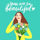 Beautiful girl holding a bouquet of flowers. Lovely girl holding a bouquet of flowers. You are so beautiful title. Beauty illustration for your design stock illustration
