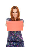 Beautiful girl holding a box Royalty Free Stock Photos