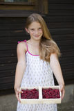 Beautiful girl holding a box with a raspberry Stock Photography