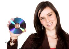 Beautiful girl holding a cd Royalty Free Stock Photography