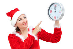 Beautiful girl holding Christmas hours. Royalty Free Stock Photo