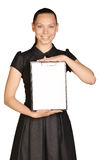 Beautiful girl holding a clipboard in hand and Royalty Free Stock Photo