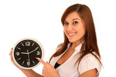 Beautiful Girl Holding a Clock Royalty Free Stock Photography