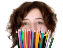 Beautiful girl holding color pencils Royalty Free Stock Photos