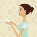 Beautiful girl holding cup of coffee Stock Photo