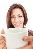 Beautiful girl holding cup mug of coffee Royalty Free Stock Photo