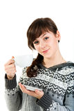 Beautiful girl holding a cup of tea Royalty Free Stock Photos