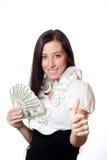 Beautiful girl holding dollars Royalty Free Stock Image