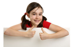 Beautiful girl holding empty board Royalty Free Stock Photo