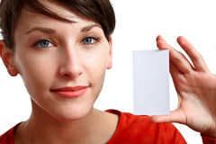 Beautiful girl holding an empty card Stock Photos