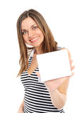 Beautiful  girl holding empty white board Royalty Free Stock Photo