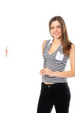 Beautiful  girl holding empty white board Royalty Free Stock Image