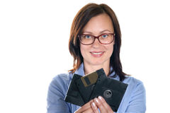 Beautiful girl holding a floppy disk Royalty Free Stock Image