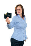 Beautiful girl holding a floppy disk Royalty Free Stock Photos