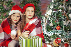Beautiful girl holding gifts. Christmas Royalty Free Stock Photos