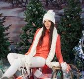 Beautiful girl holding gifts. Christmas Stock Photos