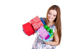 Beautiful girl holding gifts isolated Royalty Free Stock Photos