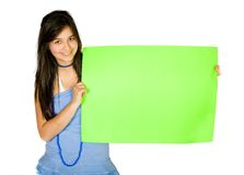 Beautiful girl holding a green banner Royalty Free Stock Images