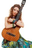 Beautiful Girl holding guitar Royalty Free Stock Images