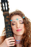 Beautiful Girl holding guitar Stock Images
