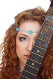 Beautiful Girl holding guitar Stock Photography