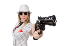 Beautiful girl holding hand gun isolated on white Royalty Free Stock Photography