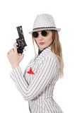 Beautiful girl holding hand gun isolated on white Royalty Free Stock Image