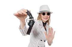 Beautiful girl holding hand gun isolated on white Stock Photo