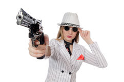 Beautiful girl holding hand gun Royalty Free Stock Photo