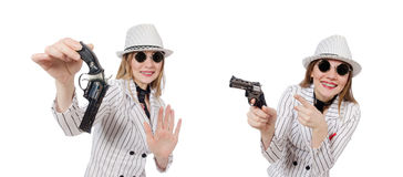 The beautiful girl holding hand gun isolated on white Royalty Free Stock Photo