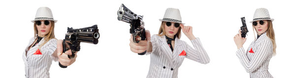 The beautiful girl holding hand gun isolated on white Royalty Free Stock Photos