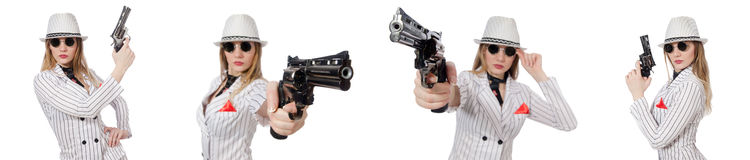 The beautiful girl holding hand gun isolated on white Stock Image