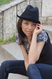 Beautiful Girl Holding Hat Stock Photos