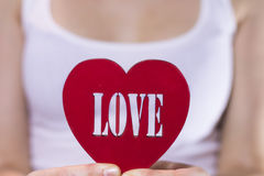 Beautiful girl holding a heart in hands Stock Photography