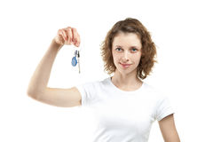 Beautiful girl holding keys Stock Images