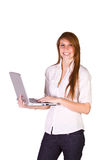 Beautiful Girl Holding a Laptop. Isolated Shot - Beautiful Woman Holding a Laptop stock photo