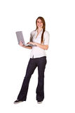 Beautiful Girl Holding a Laptop. Isolated Shot - Beautiful Woman Holding a Laptop royalty free stock images