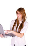 Beautiful Girl Holding a Laptop Royalty Free Stock Photography