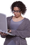 Beautiful Girl Holding a Laptop Royalty Free Stock Photo