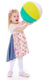 Beautiful girl holding a large inflatable ball Stock Photo